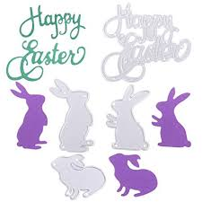 Easter Template Aopoo Happy Easter Letter Cutting Dies And Bunny Rabbit Embossing Stencil Metal Template For Easter Party Diy Craft Home Decor 4 Pieces