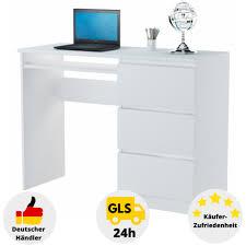 Carryhome eckschreibtisch weiß, braun , glas, 173x75 cm. Computertisch Schreibtisch Schwarz Weiss Buche Nussbaum Schubladen Redstone Ebay