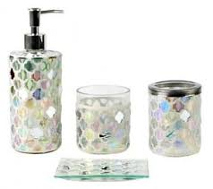 glass bathroom accessories. Image Is Loading White-Luxury-Bathroom-Accessories-Set-4-Piece-Mosaic- Glass Bathroom Accessories ,