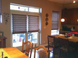 image of natural roman shades for french doors