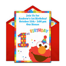 Free Online Birthday Invitations To Email Free Elmos 1st Birthday Invitations In 2019 1st Birthday
