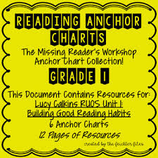 Lucy Calkins Reading Workshop Anchor Charts 1st Grade Ruos Unit 1