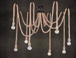 8 heads american country style pendant light fixtures swag cotton rope chandelier lighting textile cable kiven lighting ping