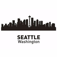 seattle city decal landmark skyline wall stickers sketch decals