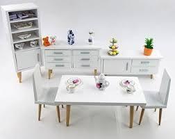 Image Modern Comfort 112 Sacle Dollhouse Miniature Furniture Wooden Modern Dining Room Set Cabinet Table Chairwhite Etsy Modern Dollhouse Furniture Etsy