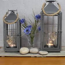 large or x large grey metal lantern integral glass candle holder rope handle
