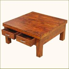 solid rustic wood coffee table with storage hardwood light brown drawers stained varnished interior contemporary