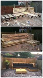 pallet made furniture. Pallet L-Shaped Sofa For Patio / Couch | 101 Ideas - Sequin Gardens Made Furniture O