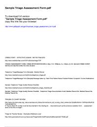 Sample Assessment Form Fillable Online Sample Triage Assessment Form Fax Email Print