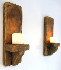 wall tea light holders pair of rustic solid wood handmade shabby chic  sconce candle holder lights