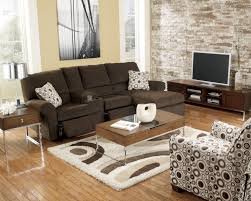 elegant brown recliner by ashley furniture austin with rustic coffee table on area rugs and laminate wood flooring for modern living room design