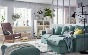 Living room furniture design Brown Ikea GrÖnlid Green Sofa With Storage And Industriell Natural Untreated Pine Bench Create Calming Living Freshomecom Living Room Furniture Ideas Ikea