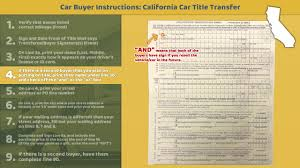 Dmv Ca Bill Of Sale Transfer California Title Buyer Instructions