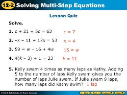 11 2 solving multi step equations lesson quiz solve