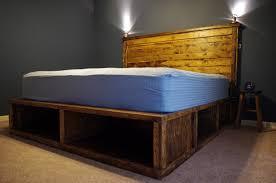 image of upholstered diy king bed frame with storage