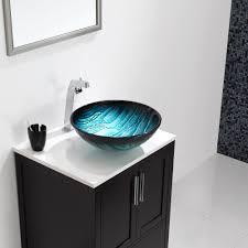 kraus ladon glass vessel sink in blue