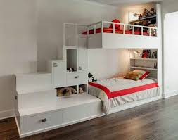 white furniture cool bunk beds: clever storage chest design for toys and integrated kid book shelves with modern white kids bunk bed including red bed linen from ashley furniture kids beds