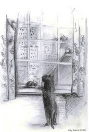 window pencil drawing. cat looking out window pencil drawing 7