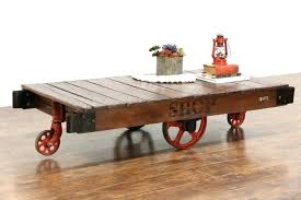 antique trolley cart coffee table sold industrial salvage vintage factory or