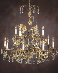 hand wrought iron chandelier with italian glass flowers and drops chandeliers