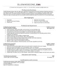 Resume Examples For Cna Fascinating Certified Nursing Assistant Sample Resume Certified Nursing