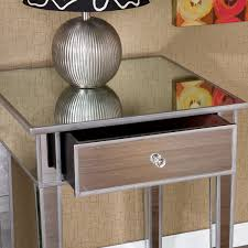 glass mirror night stands  stunning decor with silver nightstand