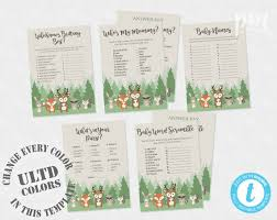 Christmas Template For Word Delectable Woodland Baby Shower Games Baby Shower Template Who's My Etsy