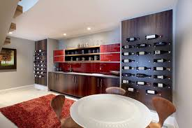 wine rack contemporary home bar contemporary with recessed lights home office red area rug