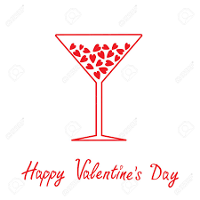 Martini Glass With Hearts Inside Happy Valentines Day Card