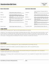 Free Bid Form Template Word Inspirational Contractor Bid Proposal ...