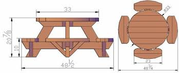 specifications toddler s round picnic table