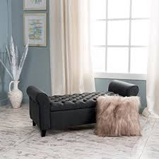 grey tufted storage bench. Charlemagne Dark Grey Tufted Fabric Armed Storage Bench O