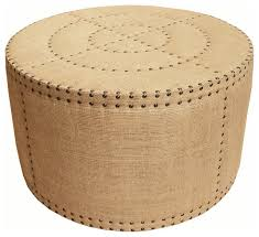 adalene french country burlap rustic round coffee table ottoman traditional footstools and ottomans by kathy kuo home