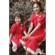 Áo dài đôi cho mẹ và bé gái _ Tafta kết hoa nổi - Combo thời trang mẹ bé  Thương hiệu OEM