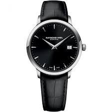 buy men s raymond weil swiss watches francis gaye jewellers men s black leather strap toccata cuff watch raymond weil