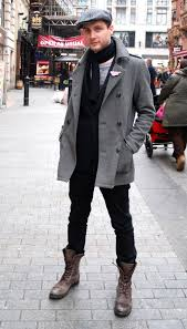 a grey pea coat and black chinos are a good combination that will earn you the