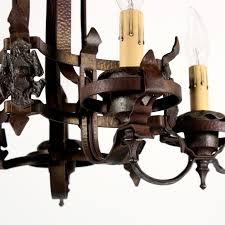 wonderful antique spanish revival semi flush mount iron five light chandelier c 1920s nc1356 rw for