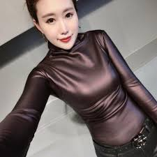 2019 autumn winter plus size pu velvet shirt women blouse slim y turtleneck long sleeve leather tops blouses tee blusas femininas from zhi