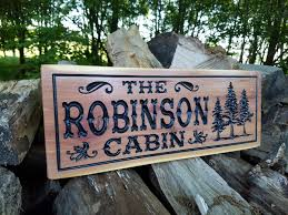 cabin signs wooden signs custom outdoor name sign personalized wooden signs custom wood signs wooden house signs tree image red cedar 306