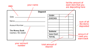 deposit slip examples money basics managing a checking account page 7
