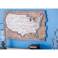 rustic wood and metal usa map wall