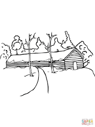 Typical Swedish Red Rural House Coloring Page Free Printable