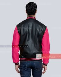 hot pink leather letterman jacket womens back