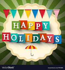 Retro Holidays Happy Holidays Retro Card With Flags Vector Image On Vectorstock