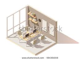 isometric office furniture vector collection. vector isometric low poly office room includes table chairs other furniture collection