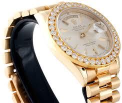 mens 18k yellow gold diamond watch 36mm rolex president day date retail price 43 500 00