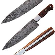 Handmade Damascus Steel Chef Knife W Wood HandleDamascus Steel Kitchen Knives