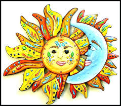 ceramic sun wall art large outdoor face painted metal and moon hanging garden