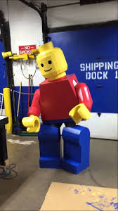 lego man costume made completely of cardboard and hot glue perfectly to scale 7 3 tall