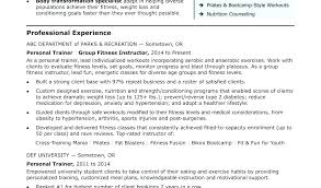 Personal Trainer Resume Sample Experience Perfect Include With